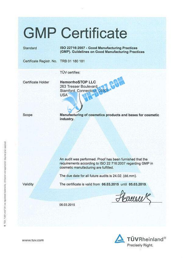 GMP Certificate HemorrhoSTOP