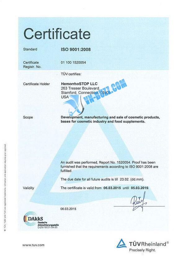Certificate HemorrhoSTOP