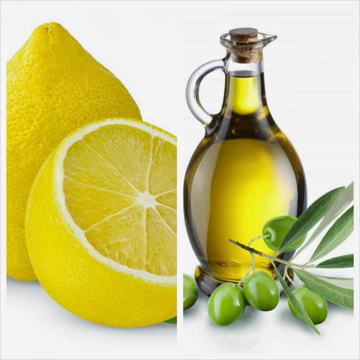 nước cốt chanh và dầu oliu